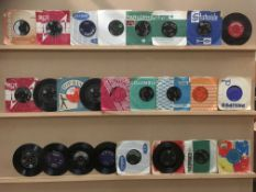 Contents to basket - 65 45rpm singles - mainly late 1950s/mid 1960s - Little Eva, Elvis Presley,