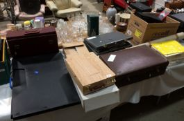 Contents to part table top - a large quantity of artist's materials including draughtsman's case