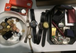 A tub containing various watches - Oris, a copy Rolex quartz, a Breitling copy,