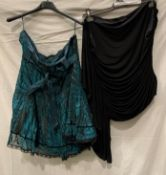 Coast, a black ruched evening top with one full sleeve (lined),UK size 16,