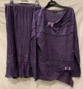 Mezon HorSan, a long sleeved tunic top and matching lined skirt, grape coloured, EU Size 40,