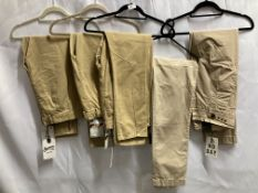 5 x pairs of ladies khaki chinos by Denham and 2nd Day (sizes 12-14)(Total approximate RRP £530)
