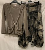 Evalinka, long sleeved taupe jumper with twist front detail, EU Size 4,