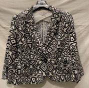 M&S, a black and white abstract jacket, (petite range), size 18, linen/viscose fabric,