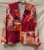 Lewinger, sharp multi coloured zip front fastening summer jacket with mock pockets, EU size 46,