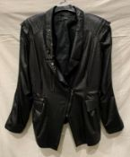 OKS, a black pletha jacket with 'Ming' shoulders, front zip and stud features, fully lined,
