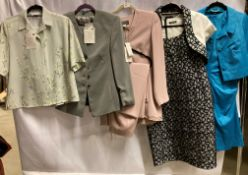 5 x assorted ladies two piece outfits, two with dresses and three with trousers, by Gina, Gold,
