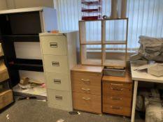 Fourteen items - folding plastic tables, wooden metal framed desk,
