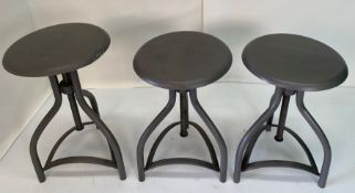 3 x Industrial swivel low stool with metal seat - One seat has a dent/scruff on the side