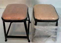2 x Industrial UPH low stools with black metal frames
