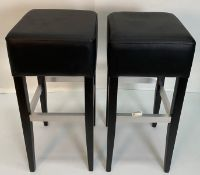 2 x Apollo Vena Black barstools with black wooden frame and metal footrest