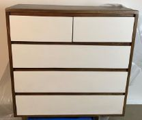 A Marina dark wood five drawer chest/sideboard (100cm x 42cm x 110cm) Trade price £302 - Please