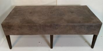 A rectangular footstool with 3 central buttons - dark walnut frame and Sunbury faux II River 6205