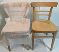 2 x Expresso Natural wood finish chairs with plastic gliders