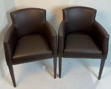 2 x Omega Vena BR-5 Dark Brown armchairs with walnut coloured frames