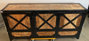 Industrial, distressed finish black metal and timber 3 door sideboard