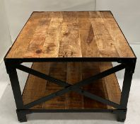 An Industrial coffee table with wooden top and black metal frame - 600mm x 600mm