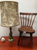 A Childs elm stick back chair and a brass table lamp complete with shade (2)