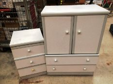 A grey melamine two door two drawer bedroom unit 80cm x 108cm high and matching three drawer