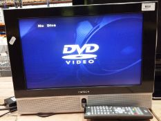 """A DM Tech 17"""" wall mounting TV/DVD video player complete with adaptor and remote control"""