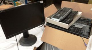"""An Iiyama Prolite B228 OHS 22"""" monitor and a box containing 27 assorted keyboards *please note this"""