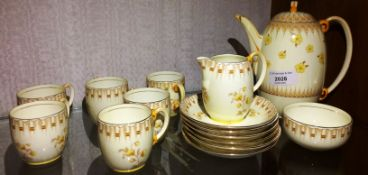 A Grafton China Bedford pattern fifteen piece coffee service - spout repaired to coffee pot and one