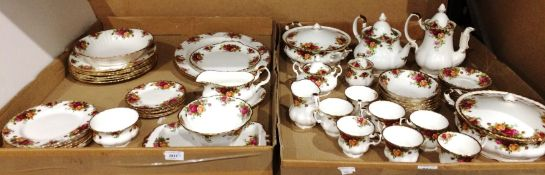 Contents to two trays 51 pieces of Royal Albert 'Old Country Roses' table ware including tureens,