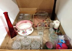 Contents to tray - glassware including part dressing table set, bowls, tray, a 'gazunder',