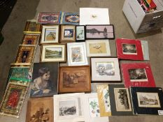 Contents to three boxes - various oriental prints, wood block pictures,