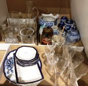 Contents to three lids blue and white oriental patterned vases with covers,