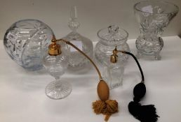 Six items - two atomizer sprays and four glass bowls and vases