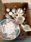 Contents to box a Brockton Manor Staffordshire jug,
