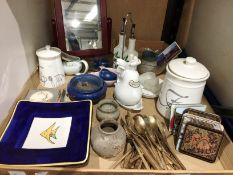 Contents to tray - jars with covers, bowls, dishes, mats,.