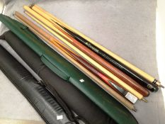 Three two piece pool/snooker cues - one BCE with Jimmy White facsimile signature,