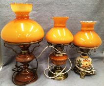 Three ornate table lamps with mustard coloured glass shades - flexes cut off not tested