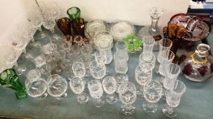 Contents to part table top - assorted glassware including a mushroom shaped decanter with Scotch