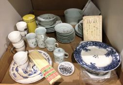 Contents to tray thirty pieces of Real Brasil Porcelano table ware, 1988 Denby Dale pie plate, etc.