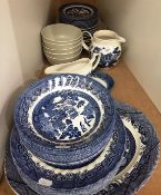 Forty assorted pieces of Royal Wessex willow pattern and Ikea tableware