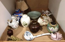 Contents to tray a quantity of oriental patterned vases with covers,