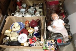 Contents to under part of rack four boxes of assorted pottery/porcelain, glassware, doll,