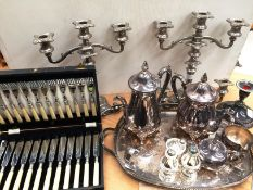 Small quantity of plated and metal ware including a pair of five stem candleabra, gallery tray,