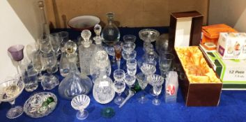 Contents to part of rack glassware including Bohemia Crystal decanter (boxed), other decanters,