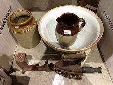 Brown glazed kitchen mixing bowl, jug, jar,