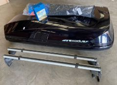 A Halfords Exodus gloss black roof box - 60kgs weight capacity approx
