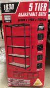 Five tier adjustable shelf storage system 1830H x 910W x 410Dmm