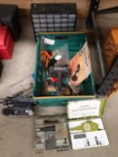 Contents to crate 36 section storage box, two assorted Hobby engraving and drill kits,