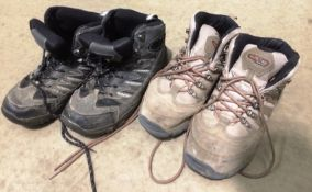 Two pairs of assorted second hand walking boots by 50 Peaks & X Luxury - both size 9