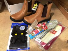 A pair of Tradesafe steel toe work boots size 8 in tan and a quantity of laces,