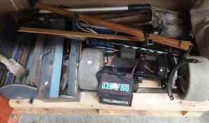 Contents to pallet electric golf cart, two x Draper metal tool boxes and contents - shovels etc.