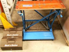 A Black & Decker Workmate work bench and two Black and Decker tool boxes containing a quantity of